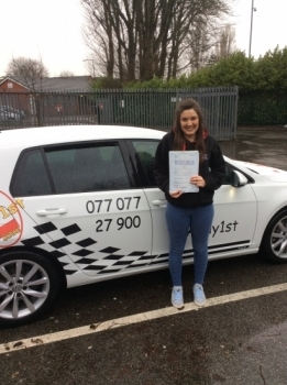 Congratulations to Alice on passing her driving test 1st time at bolton test centre with 2 minors <br />