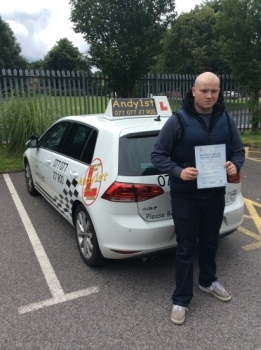 Congratulations to Andy on his 1st attempt passed with few minors at bolton test centre - good drive well done <br />