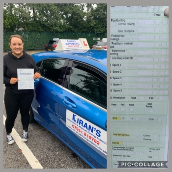 Congratulations to Elicia on passing her automatic driving test 1st time at bolton test centre with 0 Driving faults - a superb drive - well done